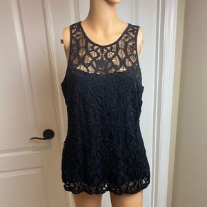 Cache Black Lace Layer Skeeveless Top